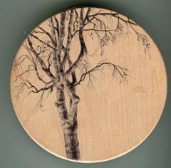 Dina Brodsky, Tree Tondo 2263, Ballpoint pen on wood miniature tondo