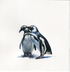 Two Penguins, contemporary realist animal watercolor on paper