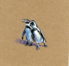 Squabbling Penguins, contemporary realist animal watercolor on paper