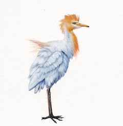 Egret, contemporary realist animal watercolor on paper