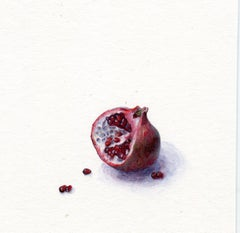 Dina Brodsky, Pomegranate, realist watercolor and gouache still life, 2019