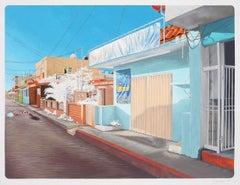 Duvian Montoya, #IslaMujeres4, realist graphite and gouache cityscape, 2017