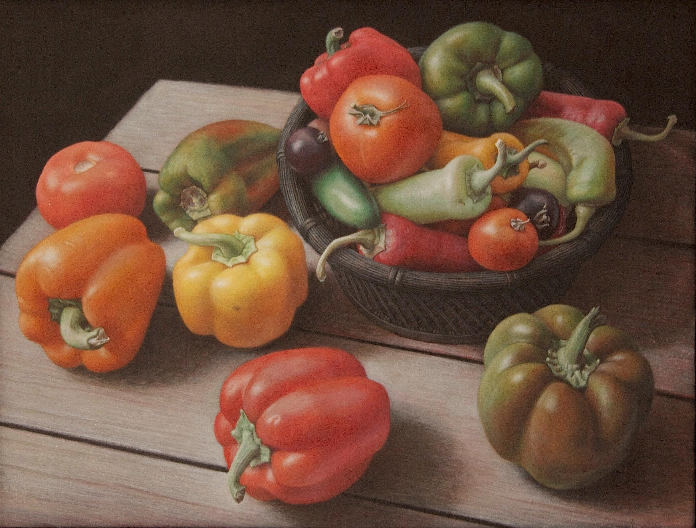 Nightshade, surrealist vegetable still life egg tempera painting, 2015