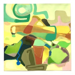 Only in Spring, yellow and green gestural abstract gouache landscape, 2019