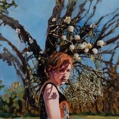 Sharon Shapiro, Shadow Tattoo, surrealist oil paint and collage portrait