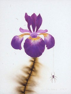 L.C. Armstrong, Iris & Spider, pop art floral still life painting, 2010