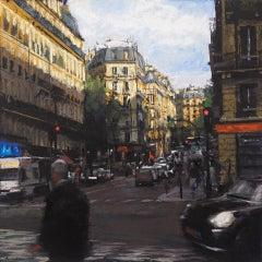 Ben Aronson, Rising Shadows on St. Germain Blvd., pastel impressionist cityscape