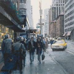 Ben Aronson, Midtown on Madison, pastel impressionist cityscape, 2020