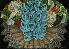Lace Collar with Jade, baroque surrealist floral still life painting