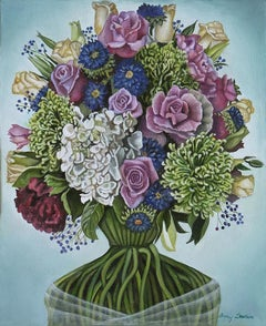 Cluster, multicolored surrealist floral still life painting, 2020