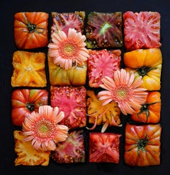Heirloom Grid, absurdist, pink patterned, staged food and flower photograph