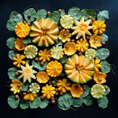 Fruity Flowers Arrangement, absurdist, orange patterned, staged food photograph
