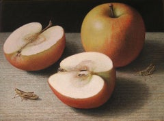 Gala and Grasshoppers, surreal egg tempera still life nature painting