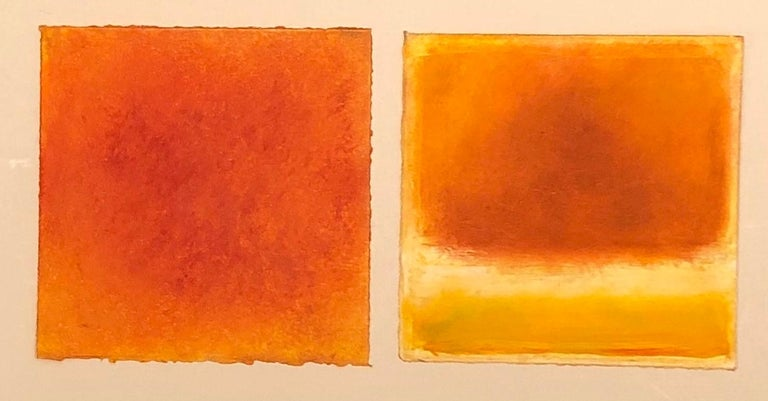 Daisy Craddock Still-Life - Moros, orange and yellow abstract pastel fruit still life, 2020