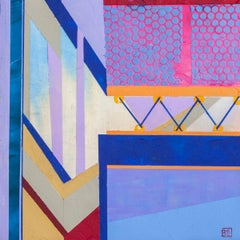 Askew #86, abstract multicolored architectural interior acrylic painting, 2020