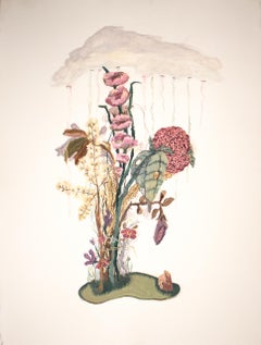 Drizzle in Suburbia, impressionistic botanical still life, gouache, 2020