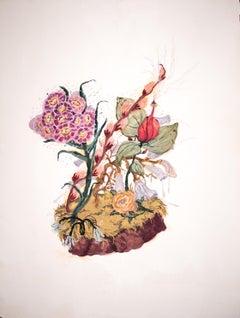 Syren, impressionistic botanical still life, gouache on rag paper, 2020