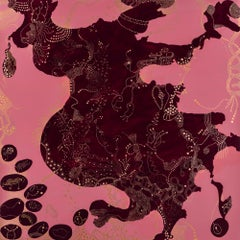 Altered States (helter skelter), pink/gold gestural abstract acrylic painting