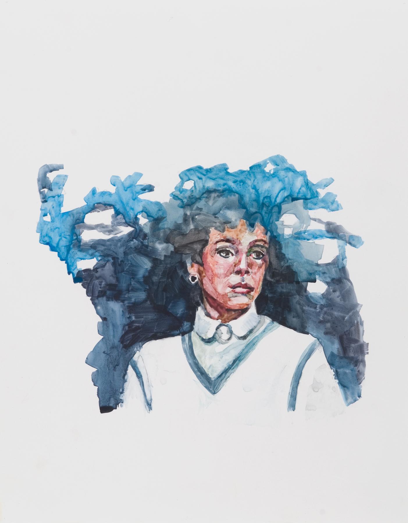 Frozen, impressionistic gouache on yupo paper vintage female portrait, 2013