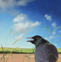 Uncommon Crow, realist landscape Americana oil painting, 2008