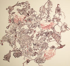 Myth, decorative floral ink on paper drawing, 2020