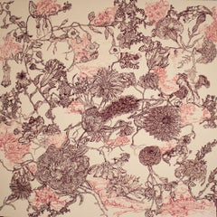 Country, decorative floral ink on paper drawing, 2020