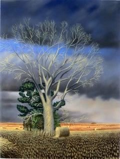 Bare Cottonwood, realist landscape Americana oil painting, 2011