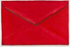Ruby Envelope, contemporary realist watercolor still life, 2021