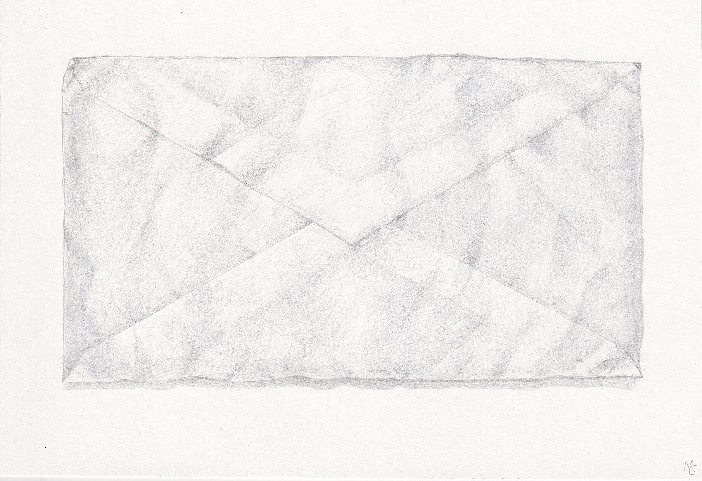 Crushed Envelope, contemporary realist silverpoint still life drawing