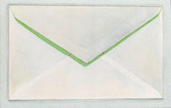 Envelope with Shadow, contemporary realist watercolor still life
