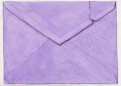 Violet Envelope, contemporary realist watercolor still life