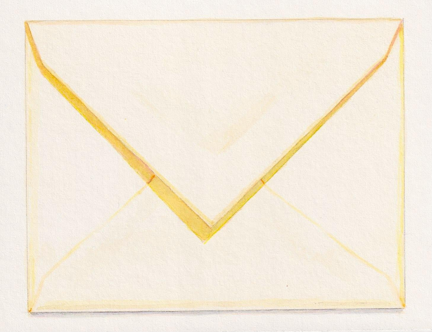 Envelope with Yellow Shadow, contemporary realist watercolor still life
