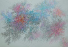 Inner Space, organic abstract graphite and colored pencil drawing on Mylar