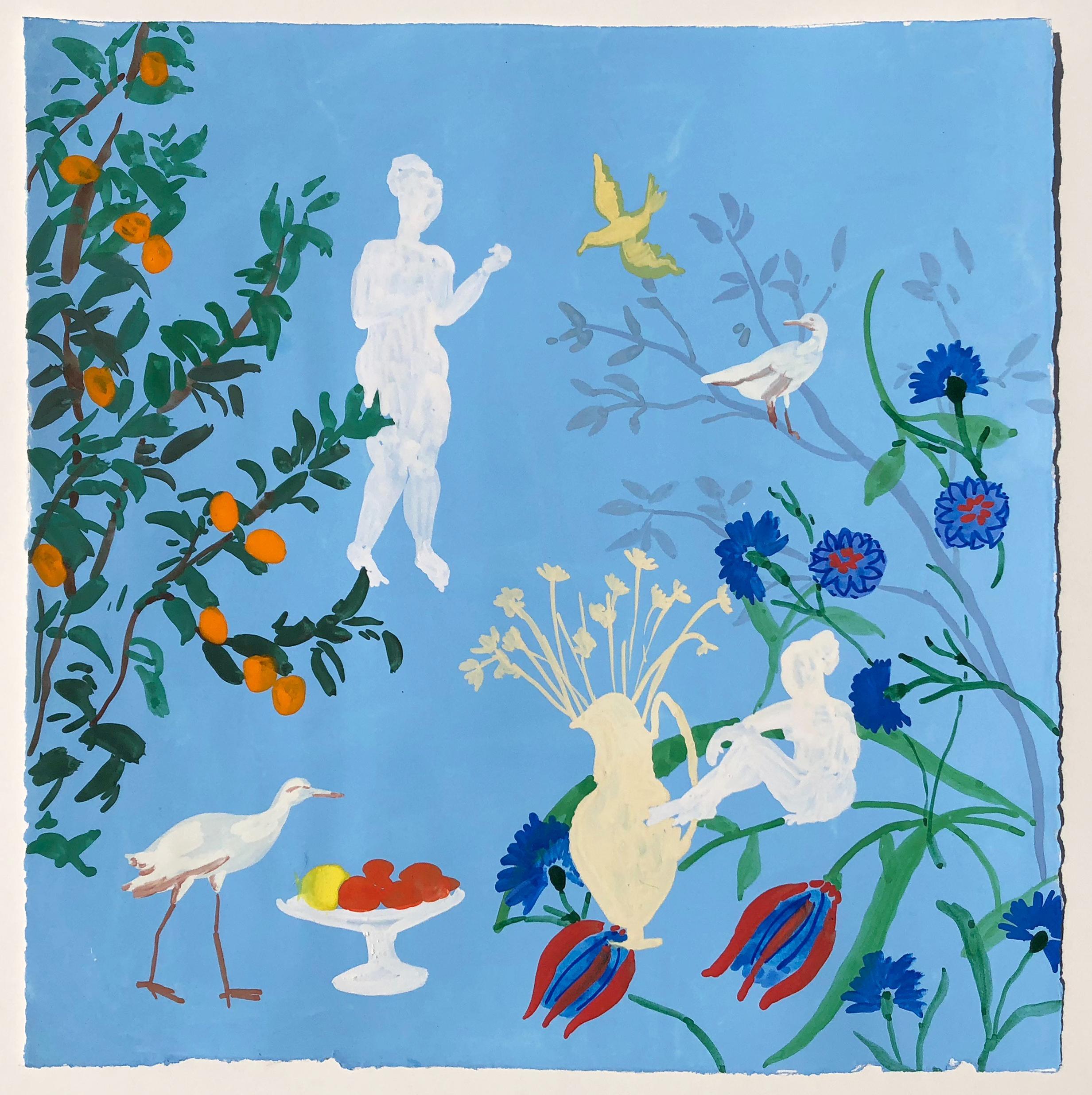 Garden Vase, vibrant gouache on paper genre scene