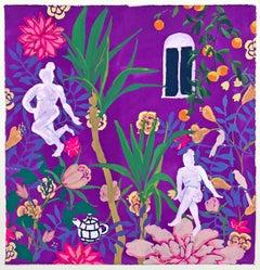 Lotus Tea, vibrant gouache on paper genre scene