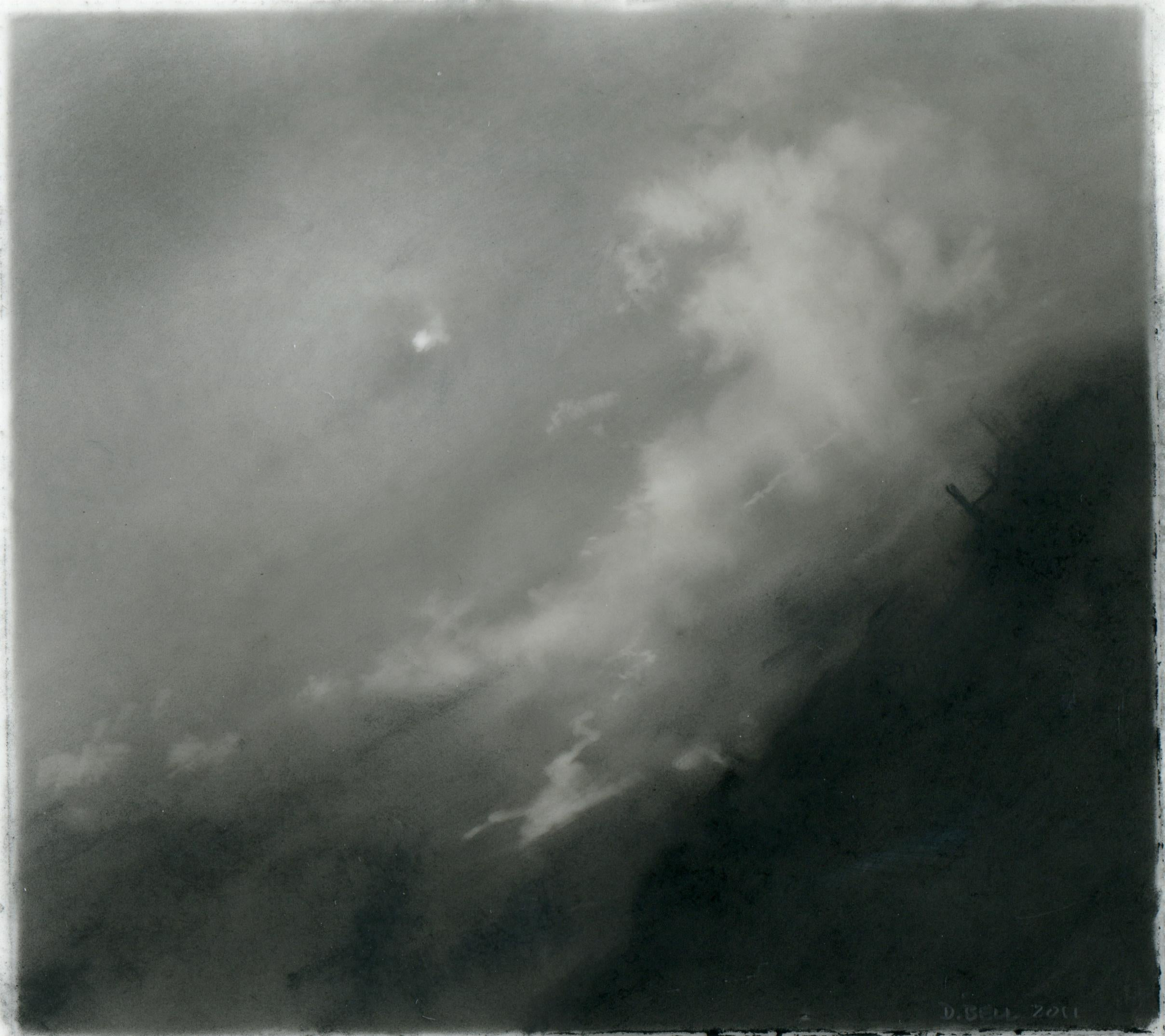 Flight, realist black and white charcoal skyscape drawing