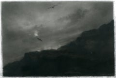Raptors, realist black and white charcoal skyscape drawing