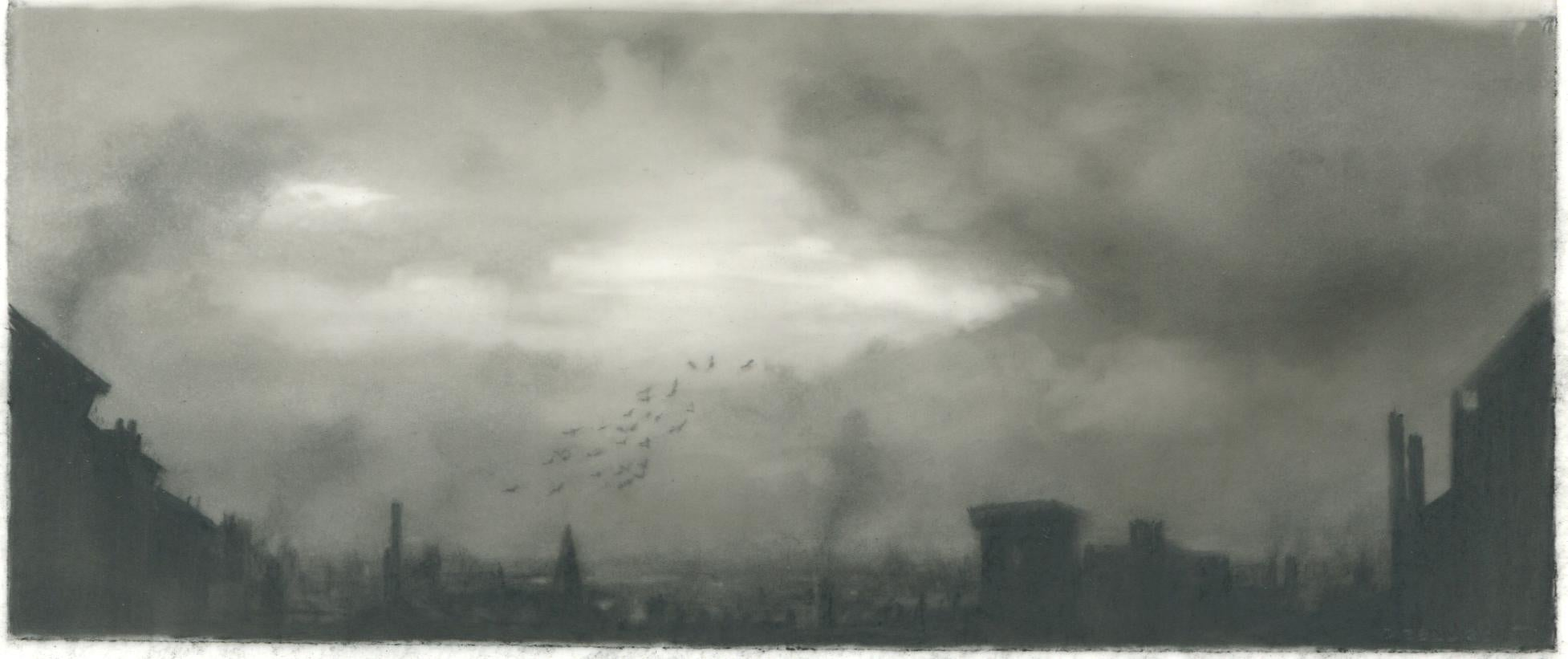 Flock, city, realist black and white charcoal skyscape drawing