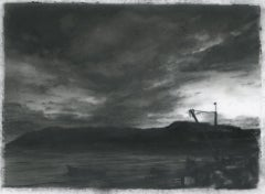 Monhegan, dock, realist black and white charcoal landscape drawing