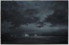 Night departure, northeastern seascape watercolor