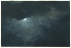 Moon ring, clouds, northeastern seascape watercolor