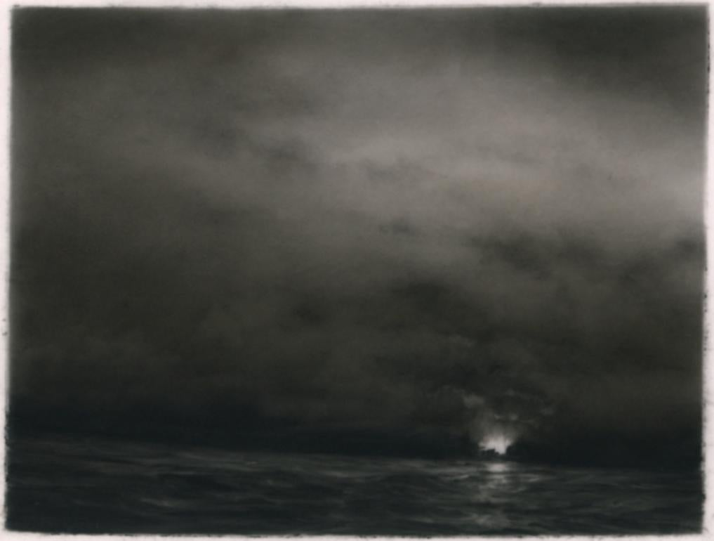 Offshore study 2, realist black and white charcoal skyscape drawing