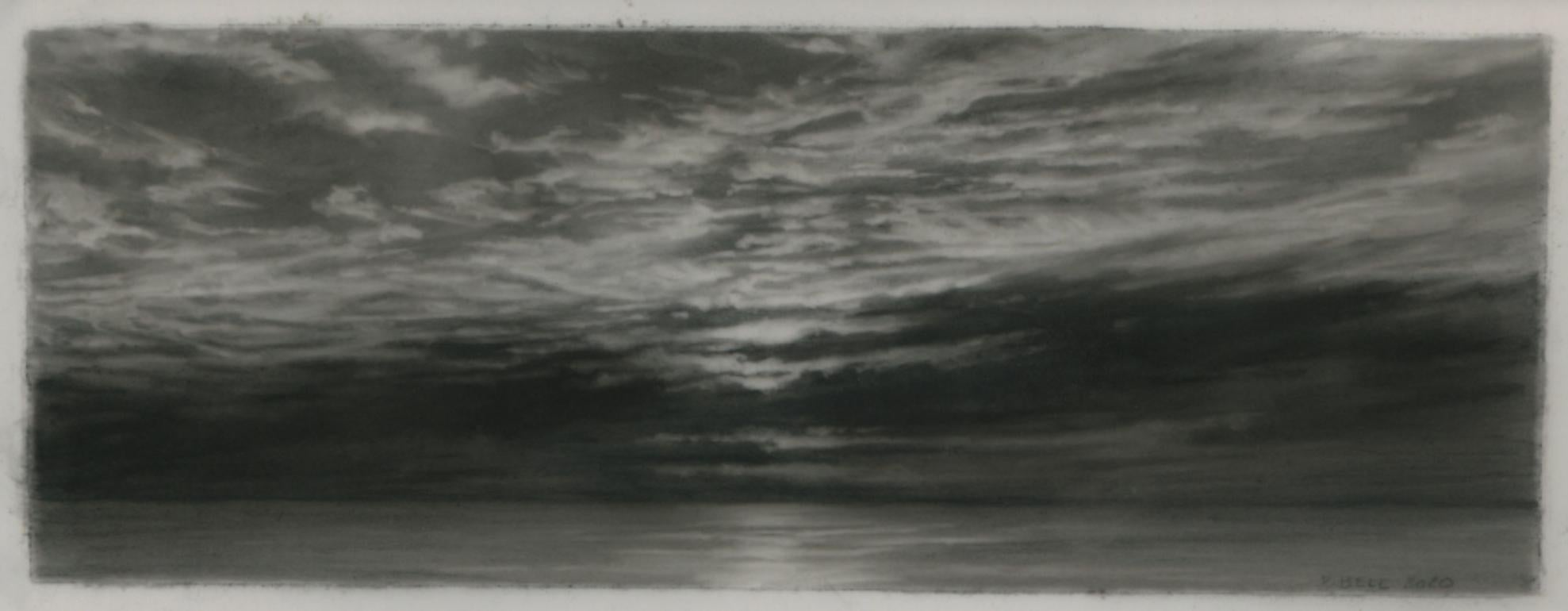 Sunset, Deadman Cove, realist black and white charcoal skyscape drawing