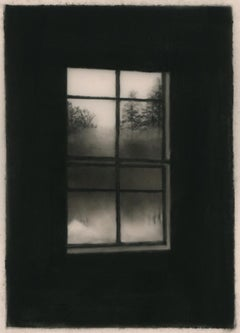 Winter room 2, realist black and white charcoal interior and landscape drawing