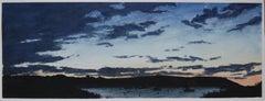 Monhegan harbor, sunset, northeastern seascape and sunset watercolor