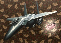 Painting of fighter plane with baby: 'Immaculate Deception'