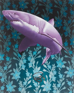 Painting of shark and prayer beads: 'Let Us Prey'