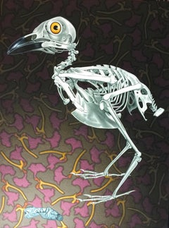 Painting of bird skeleton with tin tube: 'Restricted Diet'