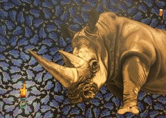 Painting of Rhino with can of Heniz Beans: 'The Pills Don't Seem To Be Working'