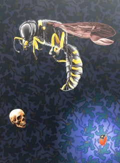 Painting of Bee and Skull: 'Time's Up'
